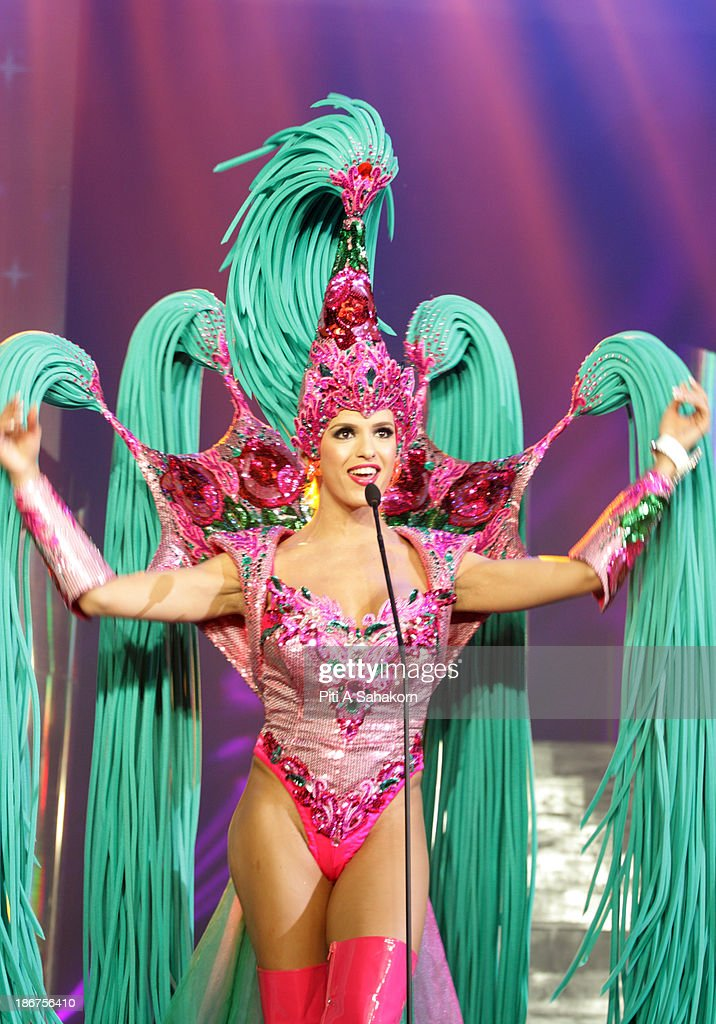 Miss Renata Ferreira from Germany in National Costume on stage in the transvestite and transgender beauty pageant Miss International Queen 2013 at Tiffany's Show theatre in Pattaya city. Twenty-five contestants from 17 countries are participating in the event, which is endowed with prize money of 300,000 Thai baht (10,000 US dollars), a crown with real gems and a free surgery at a plastic surgery clinic in Bangkok..