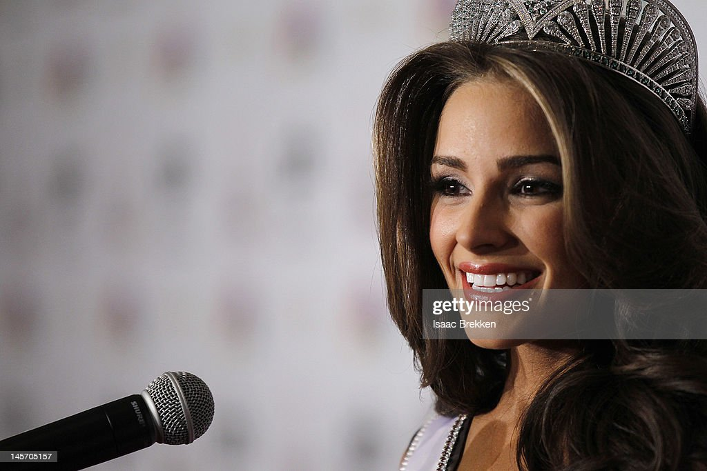 Miss Rhode Island USA Olivia Culpo speaks during a news conference after winning the Miss USA 2012 pageant at the Planet Hollywood Resort & Casino on June 3, 2012 in Las Vegas, Nevada.