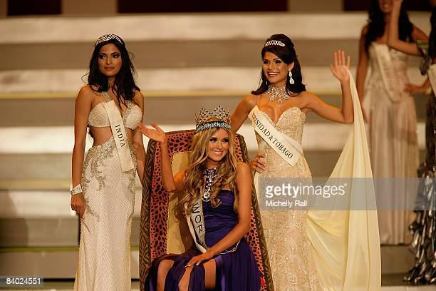 Miss Russia Kseniya Sukhinova wins the 58th Miss World flanked by Miss India Parvathy Omanakuttan and Miss Trinidad Tobago Gabrielle Walcott at...