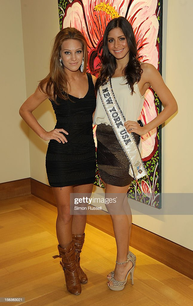 Miss S. Shore Long Island Teen USA April Maroshick and Miss New York USA 2012 Johanna Sambucini attend the Same Sky Holiday Benefit Reception at Ana Tzarev Gallery on December 14, 2012 in New York City.