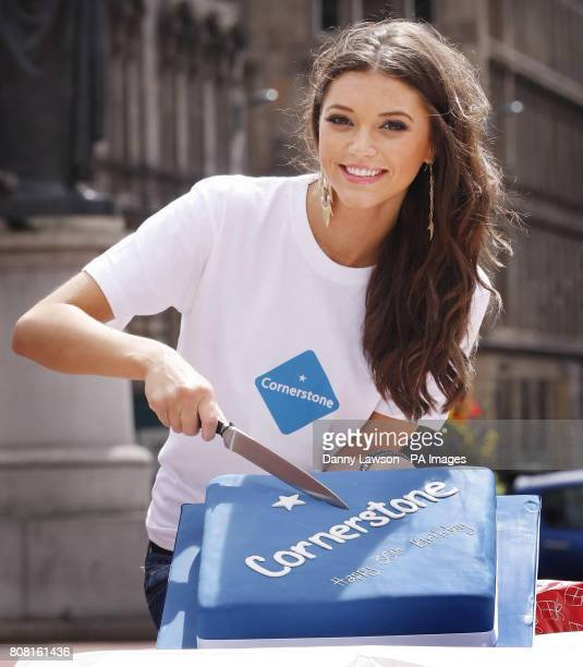 Miss Scotland Nicola Mimnagh marks the 30th birthday of charity Cornerstone during a photocall in George Square Glasgow Scotland
