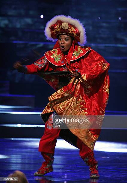 Miss Sierra Leone performs on stage at the 59th Miss World pageant held in Johannesburg South Africa on December 12 2009 Miss Gibraltar Kaiane...