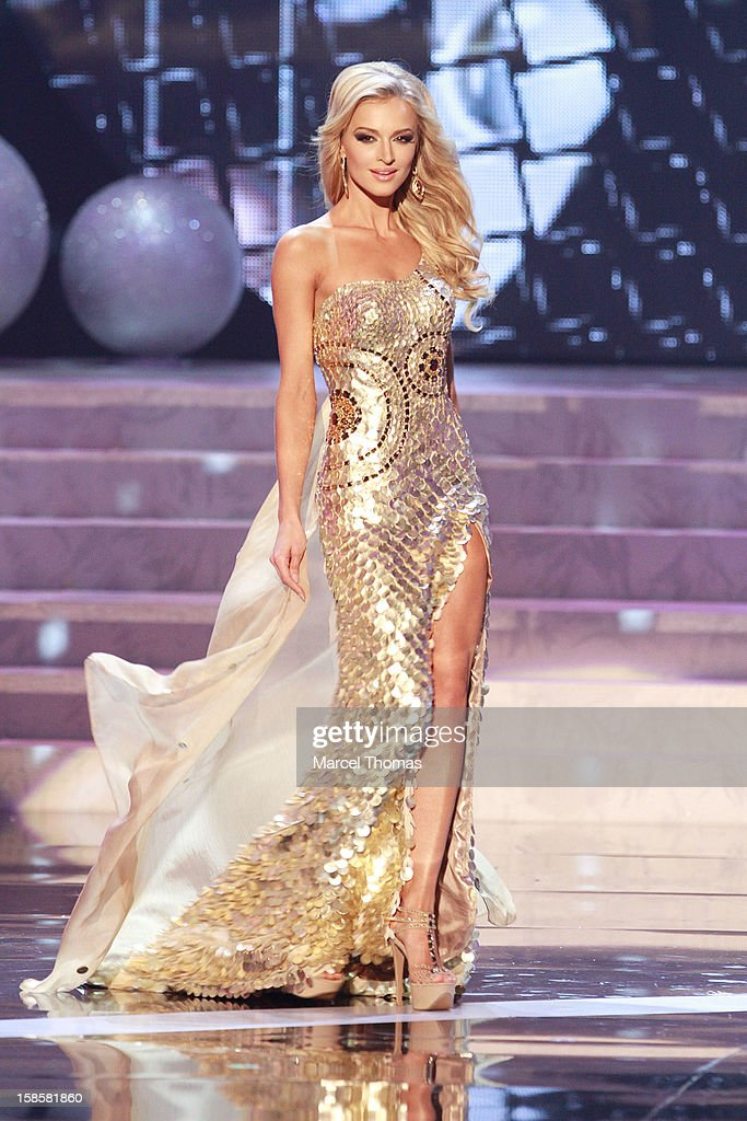 Miss South Africa 2012 Melinda Bam competes in the evening gown competition during the 2012 Miss Universe Pageant at Planet Hollywood Resort & Casino on December 19, 2012 in Las Vegas, Nevada.