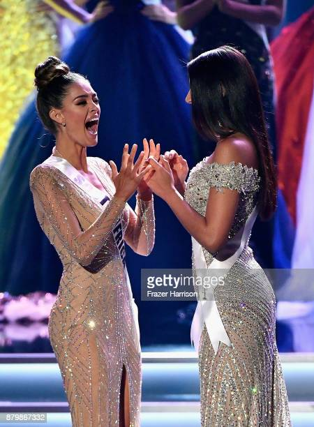 Miss South Africa 2017 DemiLeigh NelPeters and Miss Colombia 2017 Laura Gonzalez react as NelPeters is named 2017 Miss Universe during the 2017 Miss...