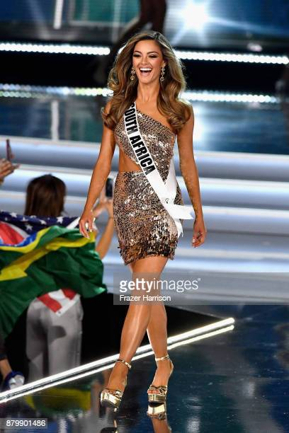 Miss South Africa 2017 DemiLeigh NelPeters competes during the 2017 Miss Universe Pageant at The Axis at Planet Hollywood Resort Casino on November...
