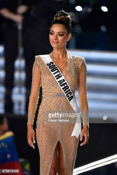 Miss South Africa 2017 DemiLeigh NelPeters is named a top 3 finalist during the 2017 Miss Universe Pageant at The Axis at Planet Hollywood Resort...