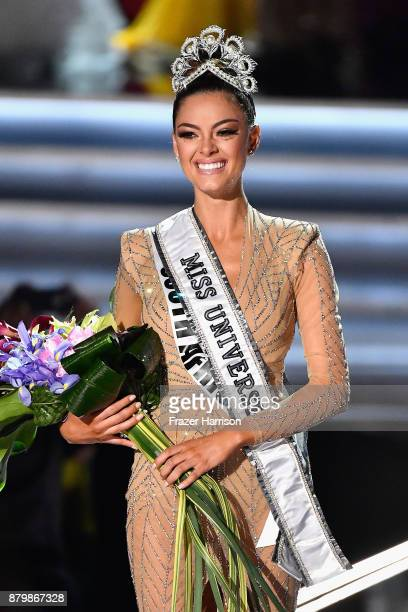 Miss South Africa 2017 DemiLeigh NelPeters is named the 2017 Miss Universe during the 2017 Miss Universe Pageant at The Axis at Planet Hollywood...
