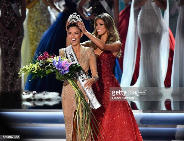 Miss South Africa 2017 DemiLeigh NelPeters reacts as she is crowned 2017 Miss Universe by Miss Universe 2016 Iris Mittenaere during the 2017 Miss...