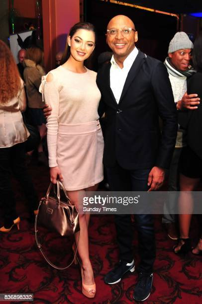 Miss South Africa DemiLeigh NelPeters and Romeo Khumalo during Trevor Noahs show at the Johannesburg Theatre on August 12 2017 in Braamfontein South...