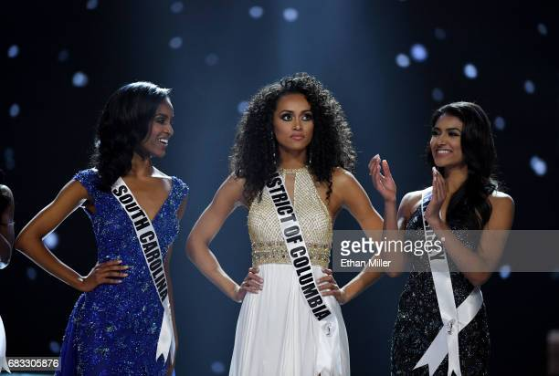 Miss South Carolina USA 2017 Megan Gordon and Miss New Jersey USA 2017 Chhavi Verg look on as Miss District of Columbia USA 2017 Kara McCullough is...