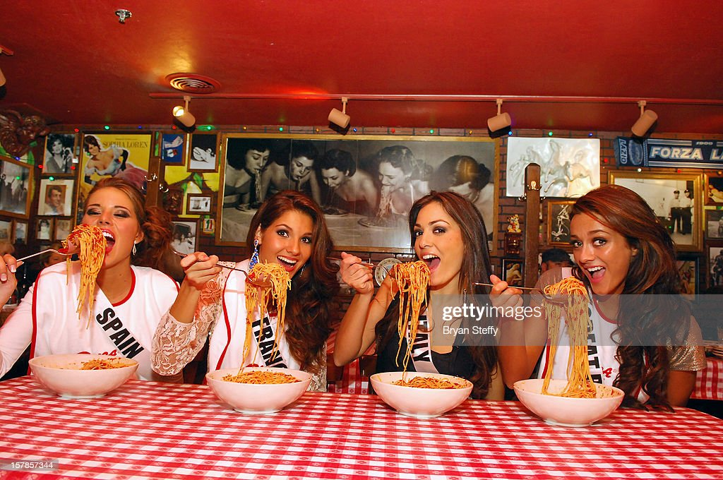 Miss Spain Andrea Huisgen, Miss France Marie Payet, Miss Italy Grazia Pinto and Miss Great Britain Holly Hale appear at the Buca di Beppo Italian Restaurant on December 6, 2012 in Las Vegas, Nevada.