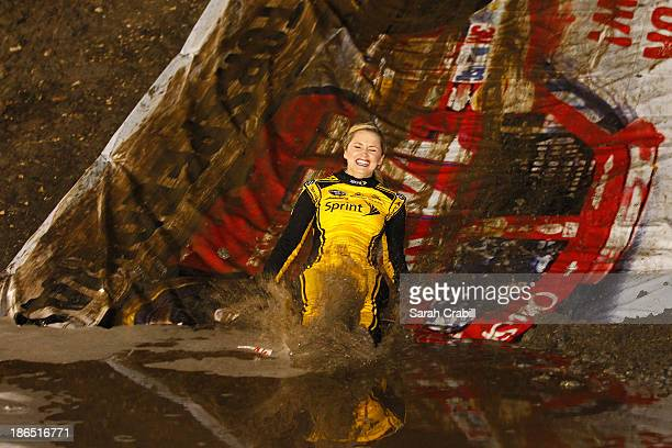 Miss Sprint Cup Kim Coon takes part in Kurt Busch's 'BuschWhacked' Mud Run at Texas Motor Speedway Dirt Track on October 31 2013 in Fort Worth Texas