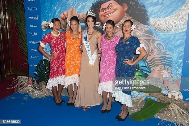 Miss Tahiti 2016 Vaea Ferrand attends the 'Vaiana Le Legende Du Bout Du Monde' Paris Premiere at Le Grand Rex on November 16 2016 in Paris France