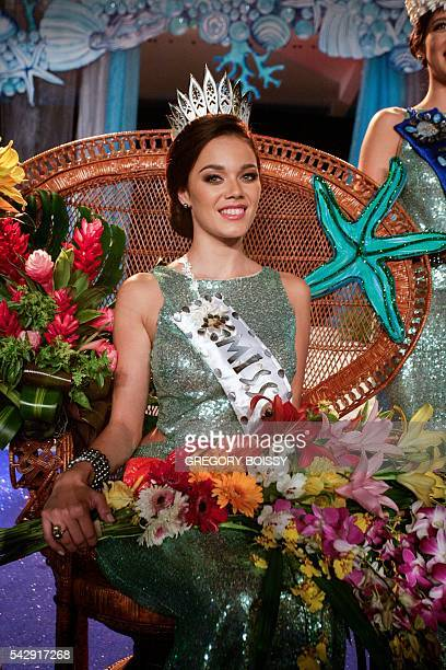 Miss Tahiti 2016 Vaea Ferrand smile during the Miss Tahiti 2016 beauty contest on June 24 2016 in at the city hall of Papeete French Polynesia / AFP...