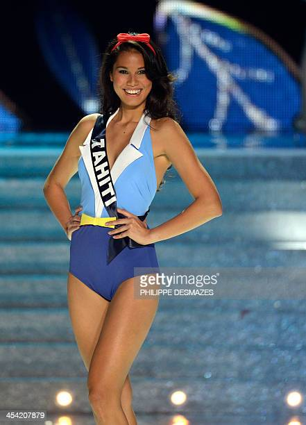 Miss Tahiti Mehiata Riaria first runnerup to Miss Orleans Flora Coquerel crowned Miss France 2014 poses during the 67th edition of the beauty contest...