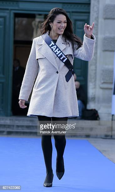 Miss Tahiti Vaea Ferrand parade during the official presentation of Miss France contestants in Montpellier southern France on December 3 ahead of the...