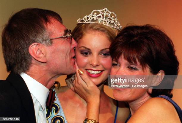 Miss Take a Break Nicola Willougby 18 from Lincoln is hugged by her parents David and Elizabeth after she was crowned Miss United Kingdom 1999 in...