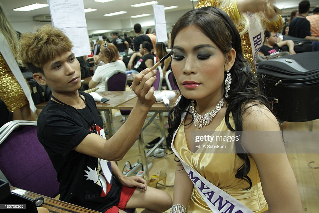 Miss Tanya Maung , (28 years old) from Myanmar preparing backstage for the transvestite and transgender beauty pageant Miss International Queen 2013. Tanya living in Thailand about 1 year and still learning at Ramkhamhaeng university in Bangkok.. Twenty-five contestants from 17 countries are participating in the event, which is endowed with prize money of 300,000 Thai baht (10,000 US dollars), a crown with real gems and a free surgery at a plastic surgery clinic in Bangkok..