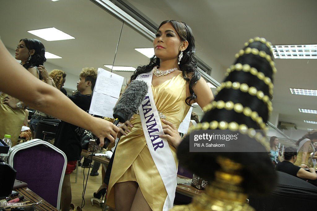 Miss Tanya Maung , (28 year old) from Myanmar speaking with the media in the transvestite and transgender beauty pageant Miss International Queen 2013. Tanya living in Thailand about 1 year and still learning at Ramkhamhaeng university in Bangkok.. Twenty-five contestants from 17 countries are participating in the event, which is endowed with prize money of 300,000 Thai baht (10,000 US dollars), a crown with real gems and a free surgery at a plastic surgery clinic in Bangkok..