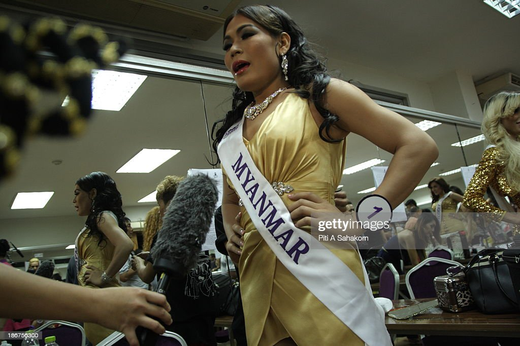 Miss Tanya Maung , (28 years old) from Myanmar speaking with the media in the transvestite and transgender beauty pageant Miss International Queen 2013. Tanya living in Thailand about 1 year and still learning at Ramkhamhaeng university in Bangkok.. Twenty-five contestants from 17 countries are participating in the event, which is endowed with prize money of 300,000 Thai baht (10,000 US dollars), a crown with real gems and a free surgery at a plastic surgery clinic in Bangkok..