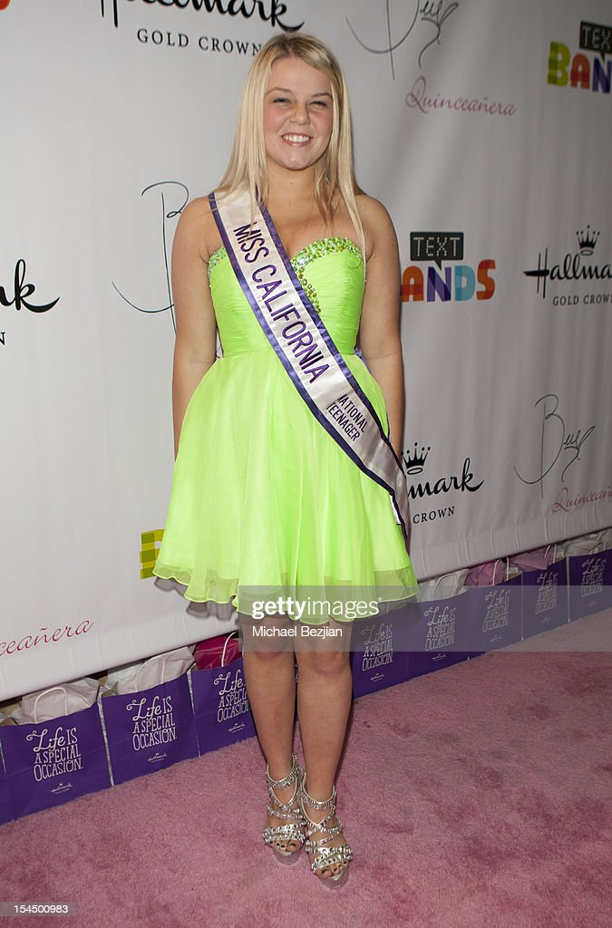 Miss Teen California Katie Hall attends Hallmark Gold Crown And Text Bands Celebrates Bella Thorne's Quinceanera in honor of her 15th Birthday on October 20, 2012 in Los Angeles, California.