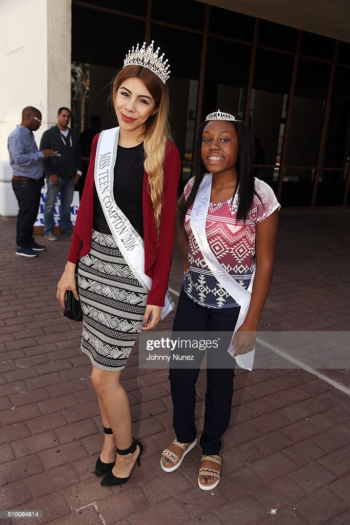Miss Teen Compoton 2016 and the People's Choice Teen 2016 attend the 2016 Key To The City Ceremony With Kendrick Lamar on February 13, 2016, in Compton, California.