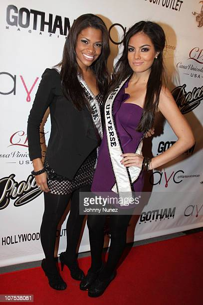 Miss Teen USA 2010 Kamie Crawford and Miss Universe 2010 Jimena Navarrete attend the Athletes Vs Cancer Event at Maserati Showroom on December 11...