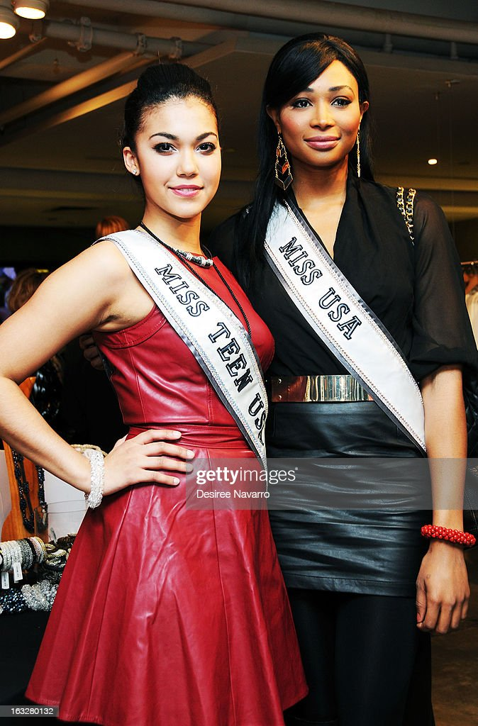 Miss Teen USA 2012, <a gi-track='captionPersonalityLinkClicked' href=/galleries/search?phrase=Logan+West&family=editorial&specificpeople=7061695 ng-click='$event.stopPropagation()'>Logan West</a> and Miss USA 2012, <a gi-track='captionPersonalityLinkClicked' href=/galleries/search?phrase=Nana+Meriwether&family=editorial&specificpeople=4594046 ng-click='$event.stopPropagation()'>Nana Meriwether</a> attend the DKNY & Same Sky Host An Ethical Shopping Event To Celebrate International Women's Day at DKNY Store on March 6, 2013 in New York City.