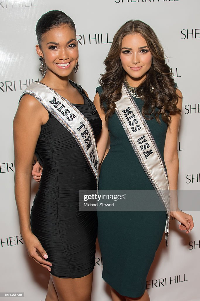 Miss Teen USA 2012 Logan West (L) and Miss USA 2012 Olivia Culpo attend the Evening Sherri Hill Spring 2013 Mercedes-Benz Fashion Week Show at Trump Tower on September 7, 2012 in New York City.