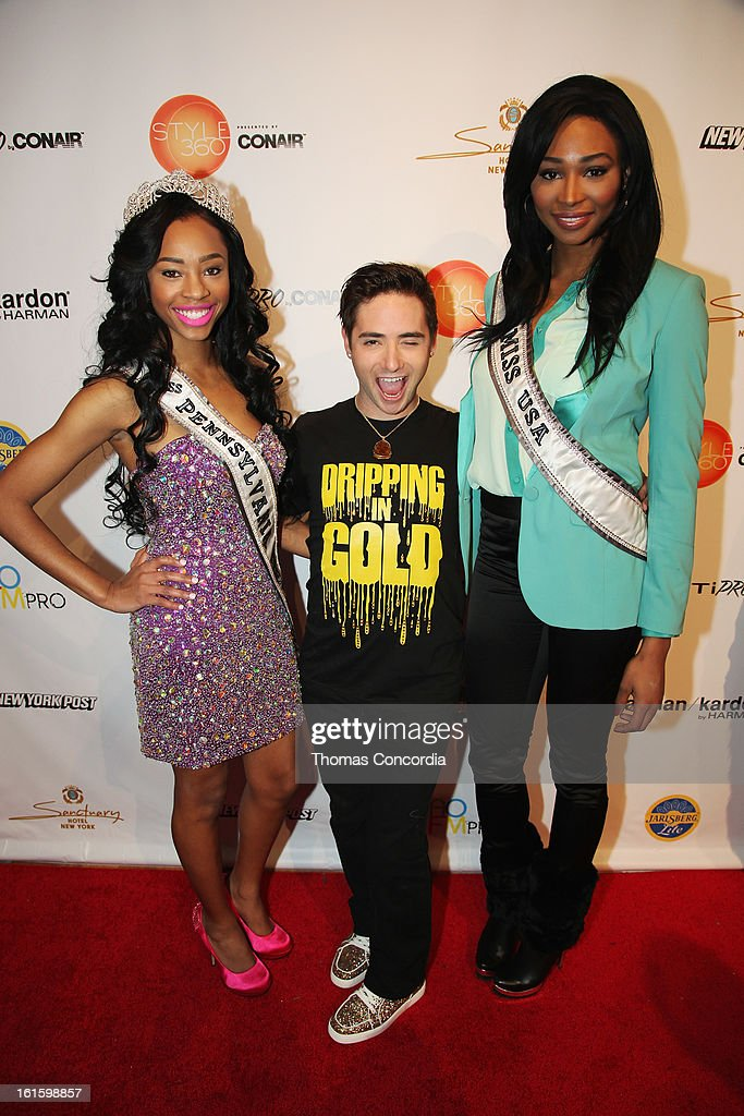 Miss Teen USA 2012 Logan West, designer Michael Kuluva and Miss USA Nana Meriwether attend the Tumbler And Tipsy By Michael Kuluva Fashion Show At CONAIR STYLE360 at STYLE360 presented by Conair Fashion Pavilion on February 12, 2013 in New York City.