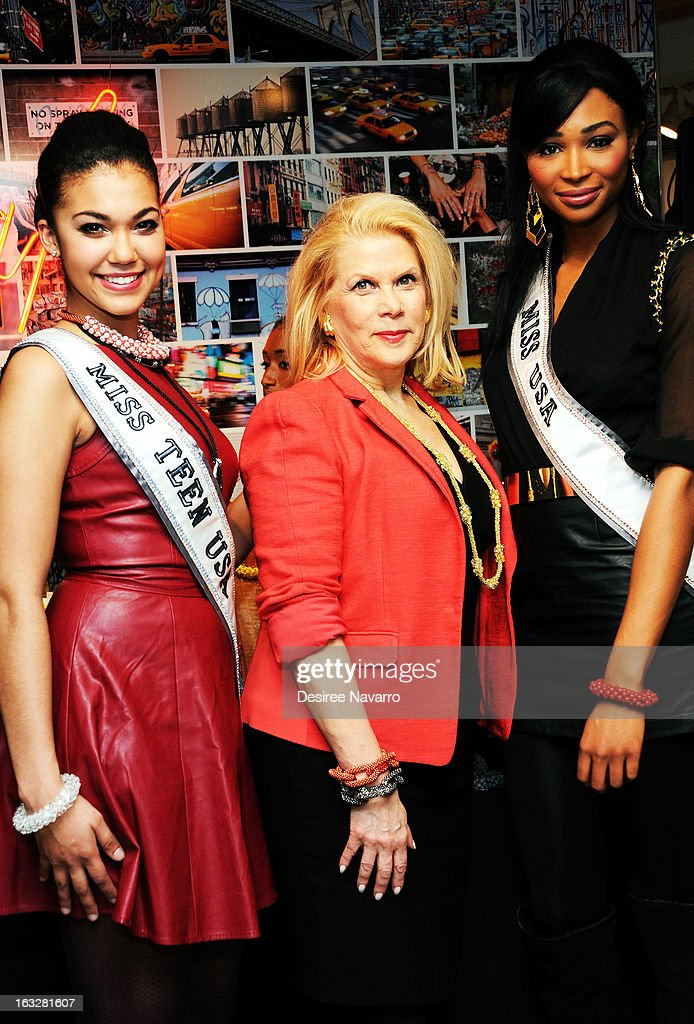 Miss Teen USA 2012 <a gi-track='captionPersonalityLinkClicked' href=/galleries/search?phrase=Logan+West&family=editorial&specificpeople=7061695 ng-click='$event.stopPropagation()'>Logan West</a>, DKNY + Same Sky Founder <a gi-track='captionPersonalityLinkClicked' href=/galleries/search?phrase=Francine+LeFrak&family=editorial&specificpeople=2154061 ng-click='$event.stopPropagation()'>Francine LeFrak</a> and Miss USA 2012 <a gi-track='captionPersonalityLinkClicked' href=/galleries/search?phrase=Nana+Meriwether&family=editorial&specificpeople=4594046 ng-click='$event.stopPropagation()'>Nana Meriwether</a> attend the DKNY & Same Sky Host An Ethical Shopping Event To Celebrate International Women's Day at DKNY Store on March 6, 2013 in New York City.