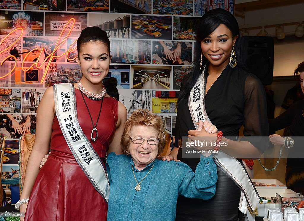 Miss Teen USA 2012 <a gi-track='captionPersonalityLinkClicked' href=/galleries/search?phrase=Logan+West&family=editorial&specificpeople=7061695 ng-click='$event.stopPropagation()'>Logan West</a>, Dr. Ruth and Miss USA 2012 <a gi-track='captionPersonalityLinkClicked' href=/galleries/search?phrase=Nana+Meriwether&family=editorial&specificpeople=4594046 ng-click='$event.stopPropagation()'>Nana Meriwether</a> attend the DKNY & Same Sky Ethical Shopping Event to celebrate International Women's Day at DKNY Store on March 6, 2013 in New York City.
