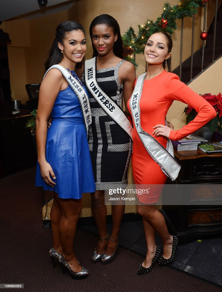 Miss Teen USA 2012 Logan West Miss Universe 2011 Leila Lopes and Miss USA 2012 Olivia Culpo attend the Miss Universe Farewell party at Empire Steak...