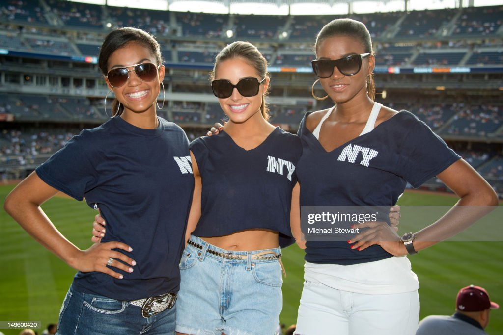 Miss Universe 2011 Leila Lopes, Miss USA 2012 Olivia Culpo And Miss Teen USA 2012 Logan West Attend The Baltimore Orioles Vs New York Yankees Game - July 31st, 2012