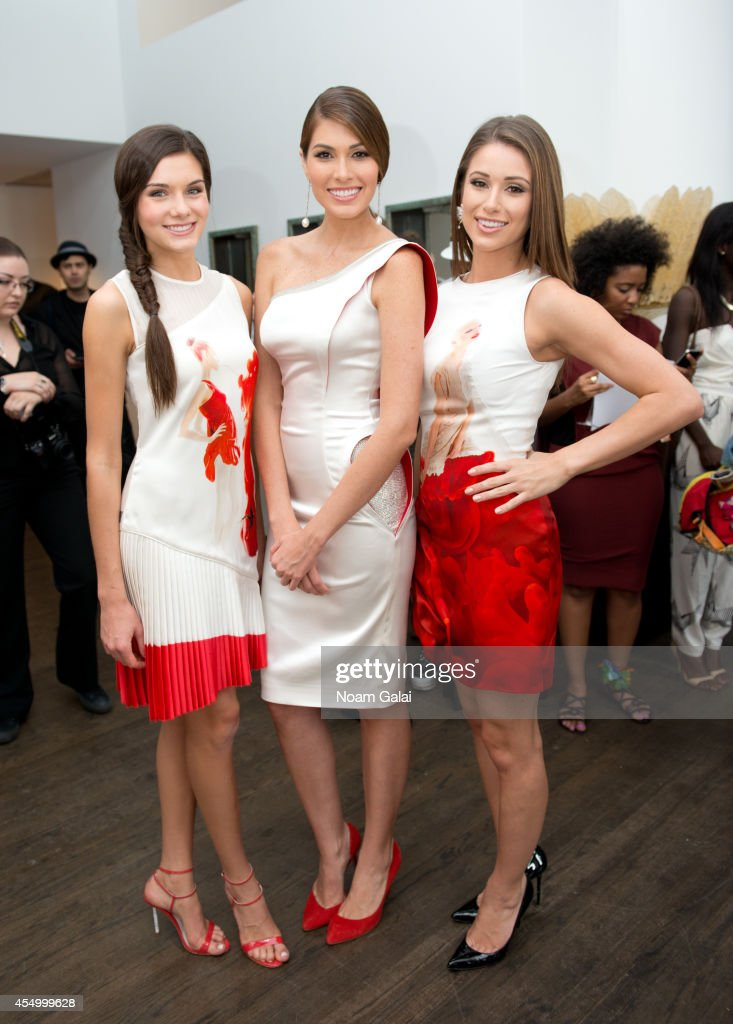 Miss Teen USA 2014 K Lee Graham Miss Universe 2014 Gabriela Isler and Miss USA 2014 Nia Sanchez attend the Helen Yarmak Int'l Presentaion during...