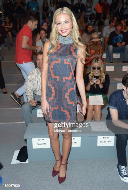 Miss Teen USA California Cassidy Wolf attends the Custo Barcelona fashion show during MercedesBenz Fashion Week Spring 2014 at The Stage at Lincoln...