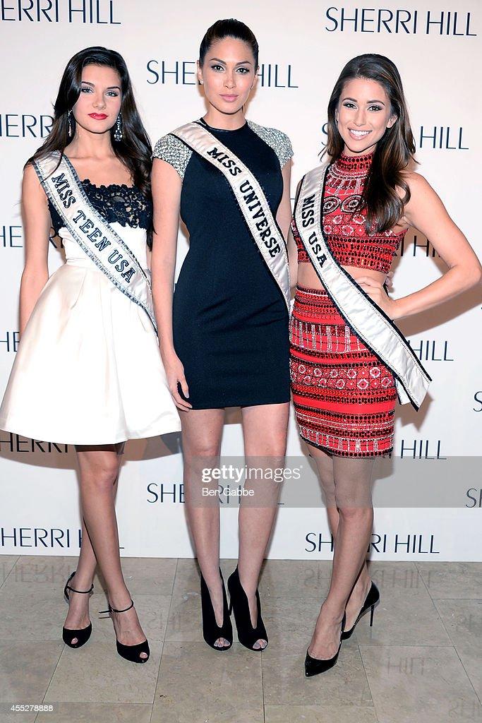 Miss Teen USA K Lee Graham Miss Universe Gabriela Isler and Miss USA Nina Sanchez attend the Sherri Hill Fashion Show during MercedesBenz Fashion...
