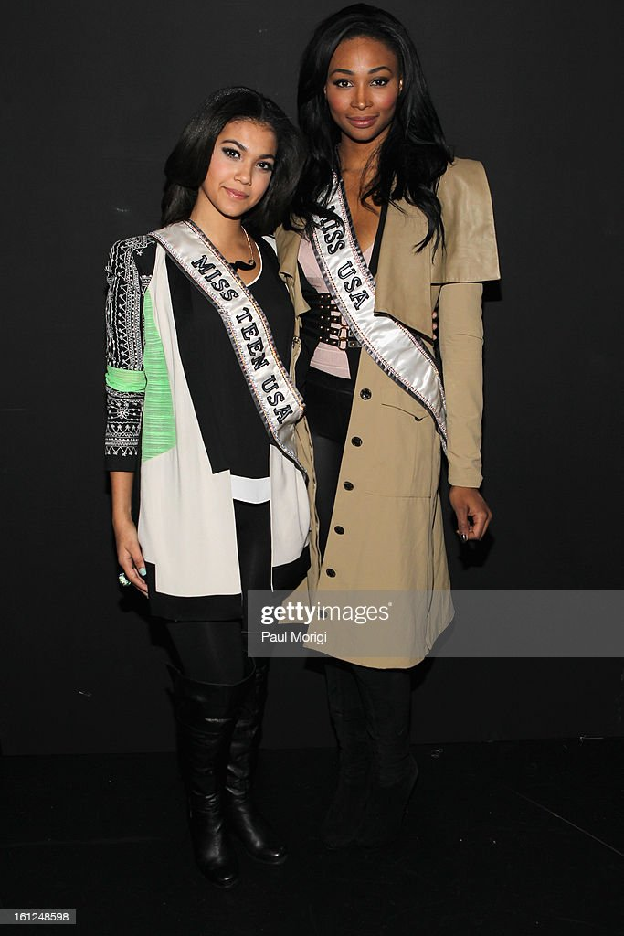 Miss Teen USA Logan West and Miss USA Nana Meriwether at the Alon Livne Fall 2013 fashion show during Mercedes-Benz Fashion Week at The Box at Lincoln Center on February 9, 2013 in New York City.