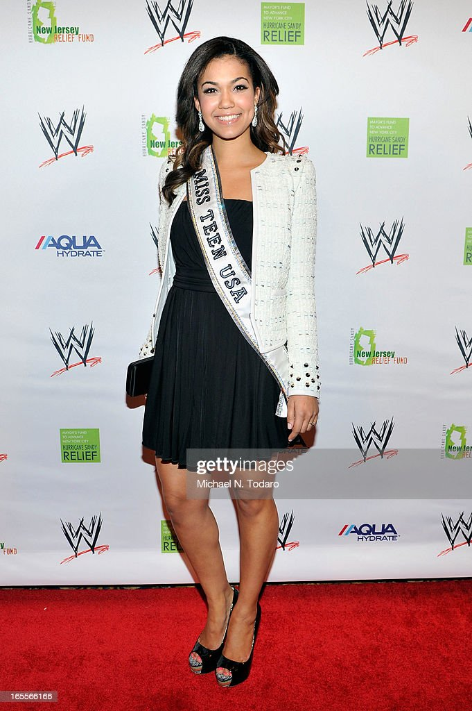 Miss Teen USA Logan West attends WWE Superstars for Sandy Relief at Cipriani, Wall Street on April 4, 2013 in New York City.