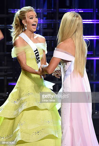 Miss Texas Teen USA 2016 Karlie Hay and Miss Nevada Teen USA 2016 Carissa Morrow react after being named top five finalists during the 2016 Miss Teen...