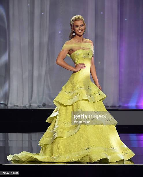 Miss Texas Teen USA 2016 Karlie Hay competes in the evening gown competition during the 2016 Miss Teen USA Competition at The Venetian Las Vegas on...