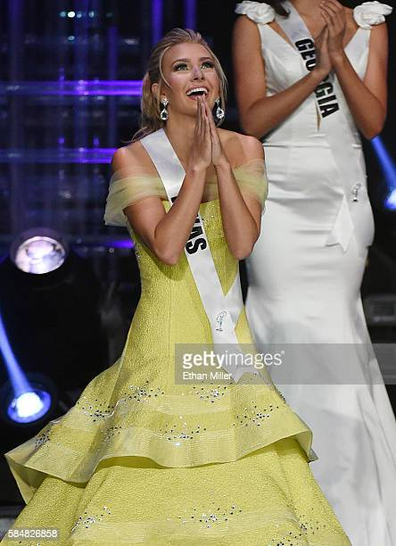 Miss Texas Teen USA 2016 Karlie Hay reacts after being named a top five finalist during the 2016 Miss Teen USA Competition at The Venetian Las Vegas...