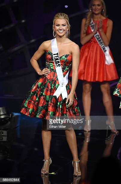 Miss Texas Teen USA 2016 Karlie Hay reacts after being named one of the top 15 finalists during the 2016 Miss Teen USA Competition at The Venetian...