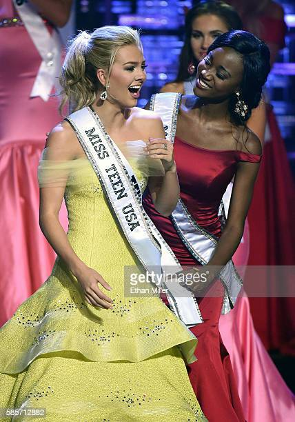 Miss Texas Teen USA 2016 Karlie Hay reacts as Miss USA 2016 Deshauna Barber puts the Miss Teen USA sash on her after Hay won the 2016 Miss Teen USA...