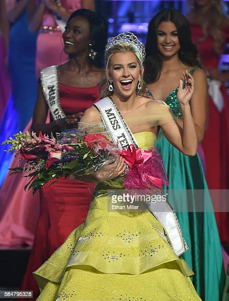 Miss Texas Teen USA 2016 Karlie Hay waves after being crowned Miss Teen USA 2016 as Miss USA 2016 Deshauna Barber and Miss Teen USA 2015 Katherine...
