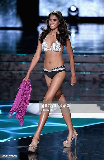 Miss Thailand 2015 Aniporn Chalermburanawong competes in the swimsuit competition during the 2015 Miss Universe Pageant at The Axis at Planet...