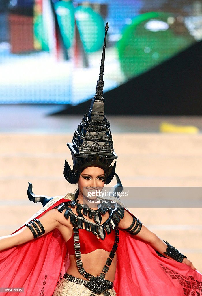 Miss Thailand Nutpimon Farida Waller displays her national costume at the 2012 Miss Universe National Costume event at Planet Hollywood Casino Resort on December 14, 2012 in Las Vegas, Nevada.