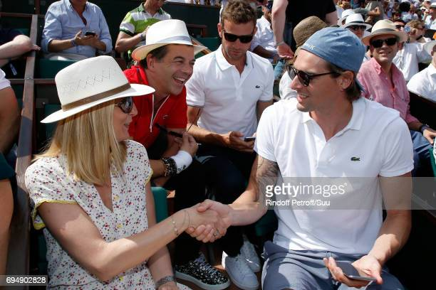 Miss Thierry Guibert TV host Stephane Plaza and swimmer Camille Lacourt attend the Men Final of the 2017 French Tennis Open Day Fithteen at Roland...