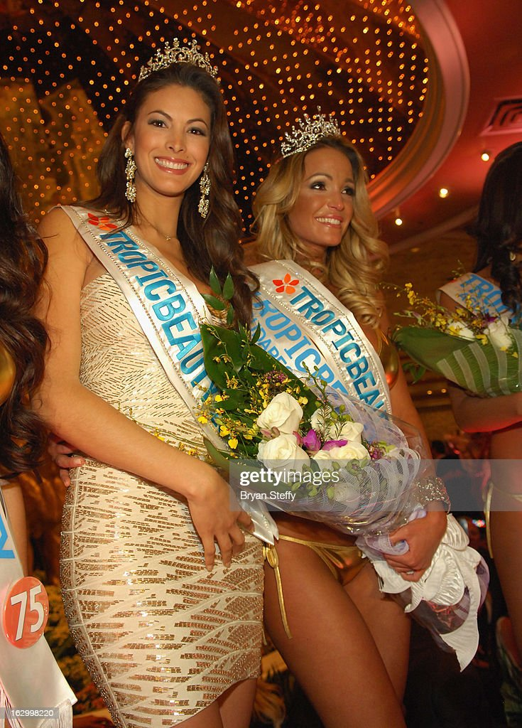 Miss TropicBeauty 2012, Ligia Hernandez (L) appears with Linda Zimany of Hungary as she wins the title of Miss TropicBeauty 2013 during the third annual TropicBeauty World Finals at the MGM Grand Hotel/Casino on March 2, 2013 in Las Vegas, Nevada.
