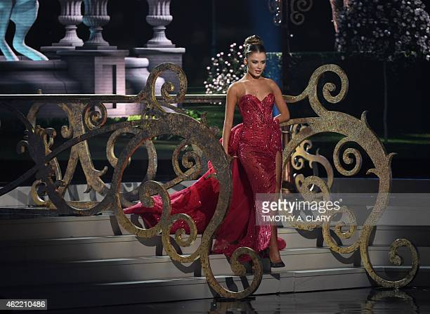 Miss Ukraine Diana Harkusha participates in the evening gown competition during the 63rd Annual MISS UNIVERSE Pageant at Florida International...
